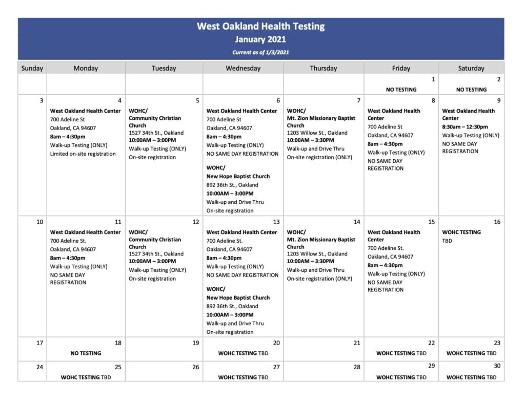 COVID-19 TESTING RESOURCES, West Oakland Health Council